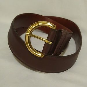 Coach brown leather buckle belt size L